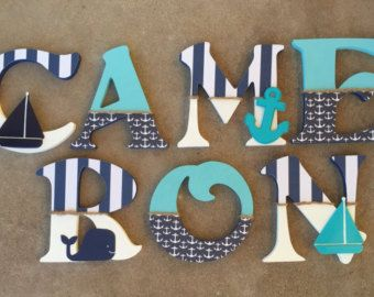 Nautical Wooden Letters Nautical Nursery Decor Nautical