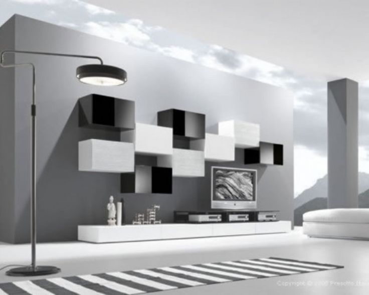 Ultramodern Open Gray Living Room Featured With Ultramodern Furniture From  Presotto Italia Like Striped Carpet Floor Lamp Flat Tv Wall Unit White Puff  .