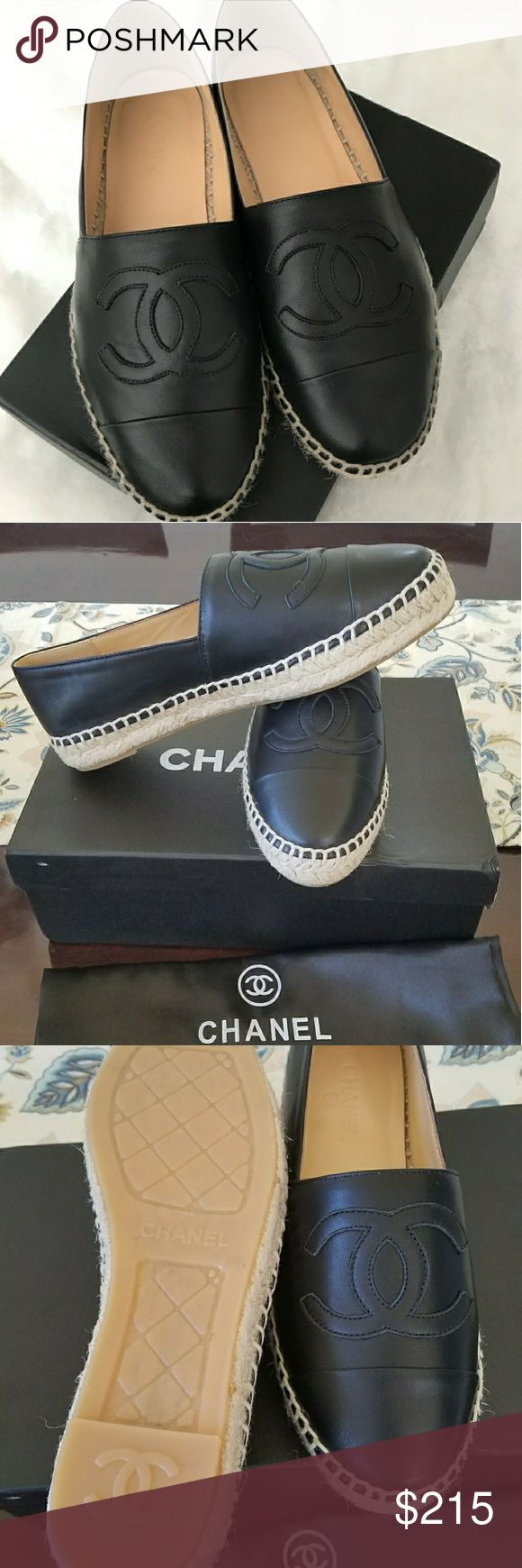 Chanel Espadrilles Espadrilles inspired by Chanel. Price reflect authenticity. Amazing guality. Buttery soft lambskin leather. Sizes run small. Order a full size larger for a perfect fit. Sorry no trades ! Price is FIRM. CHANEL Shoes Espadrilles