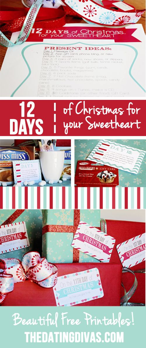 12 days of Christmas gift ideas for my husband done- gotta print these tags up to use asap. www.TheDatingDivas.com