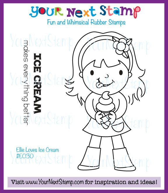 Ellie Loves Ice Cream (cling set) [E030] - USD9.95 : Your Next Stamp