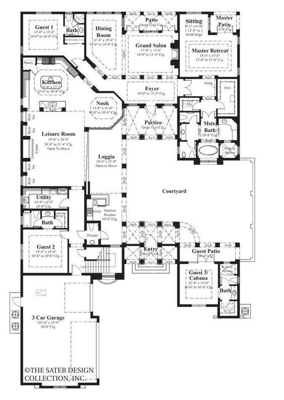 The clic fa̤ade of this Spanish-inspired villa, the Tre Mori home  Sq Ft House Plans Spanish on contemporary mountain home plans, living room furniture floor plans, 800 sq ft cottage plans, 600 sq ft cottage plans, 2500 square foot floor plans, 3 dimensional home plans, 1600 sq ft cottage plans, sq ft square footage calculator,