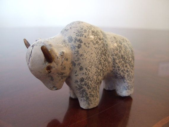 Native American Great White Bison Buffalo Hand Carved