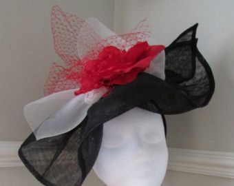 Chanel-look Black White Red Hattinator - Ladies Day Hat - Racing Hat - Kentucky Derby - Ascot - Edit Listing - Etsy