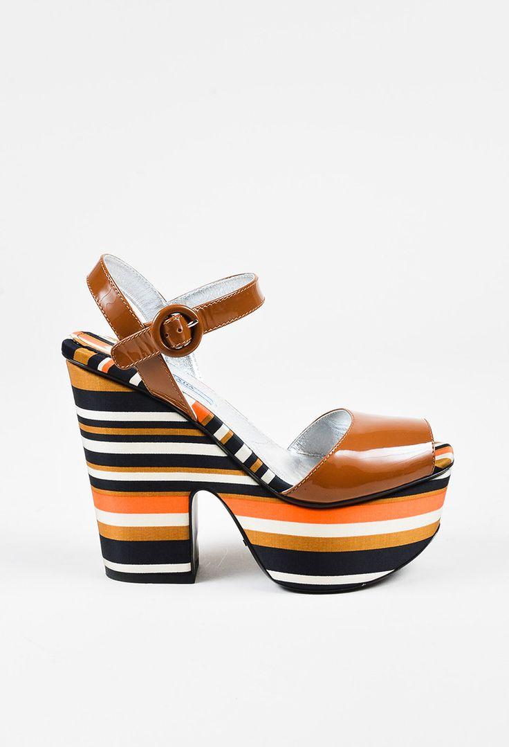 Prada Brown Orange Black Striped High Heel Sandals - 3