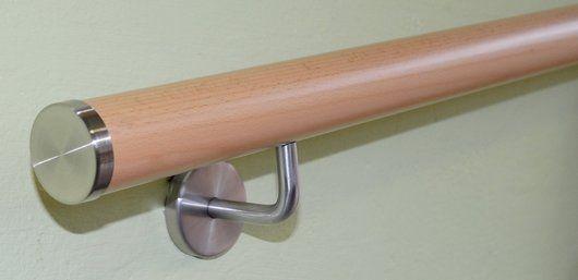 Handlauf Buche Ø 45, 500 - 4000mm inkl. Kappen flach + Halter