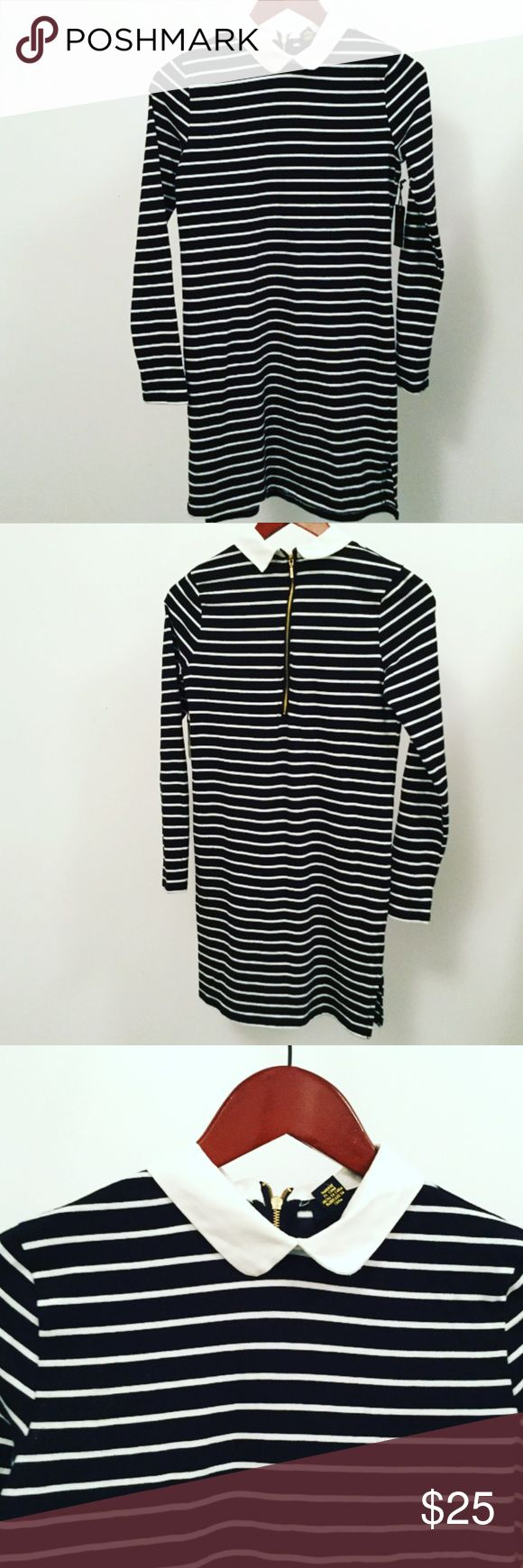 """Collard Dress🎀 Brand New with tags! SO Adorable Black and White striped stretchy Dress with White Collar. Short zip up back.  Says size small but will fit a Medium also! Not fitted like a bodycon. Will Look Amazing with a pair of black heels for a night out! Measures 31"""" Length 🎀Discount on a Bundle Dresses Midi"""