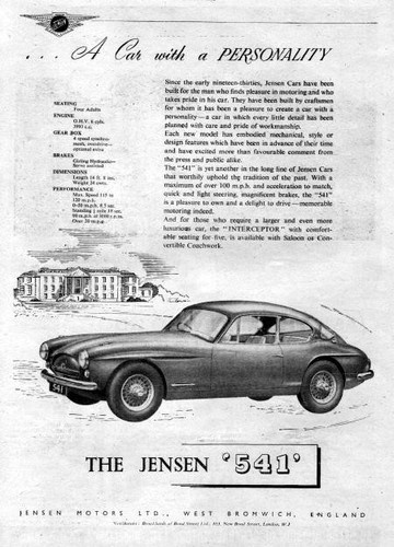 1956 Jensen 541 Sports Car Original Ad | eBay