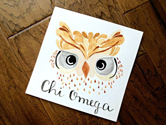 Watercolored owl with Chi Omega written below it on 8 x 8 watercolor paper.