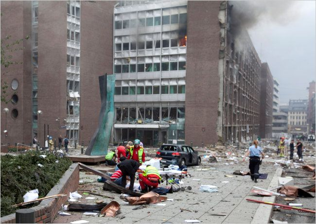 Deadly explosions shattered windows on Friday at the government headquarters in Oslo, which includes the prime minister's office. A spokeswoman for Prime Minister Jens Stoltenberg said he was safe.