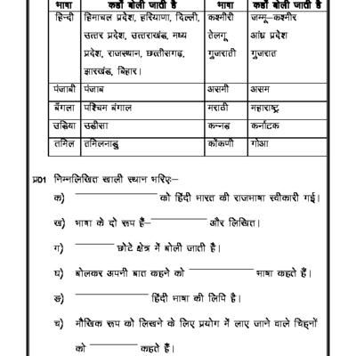 Hindi Worksheet - What is Language and Grammar