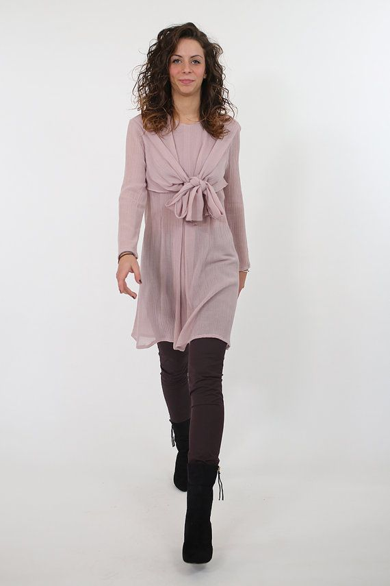 Ascot bow tie shirt dress in dusty pink wool. Handmade in Italy. by (n-1) couture.