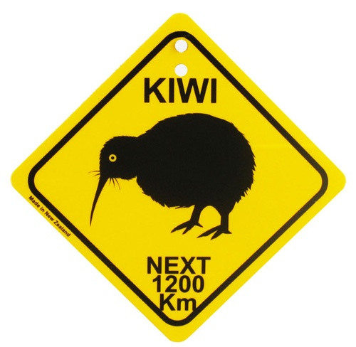Kiwi crossing signs appear in areas with concentrations of the rare bird and national icon.