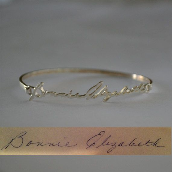 Personalized Signature/Handwriting Bracelet - Bangle Bracelet - Sterling Silver on Etsy, $46.00