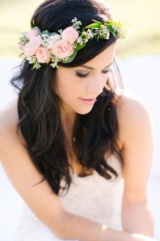 Flora Fetish LLC - Austin Florists - Peachy-pink garden rose flower crown, perfect for a boho bride