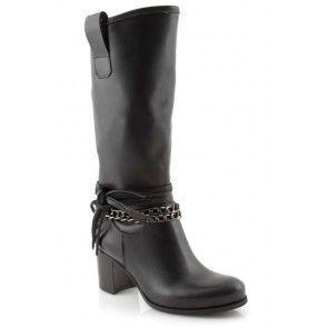 Stivali donna neri con catena