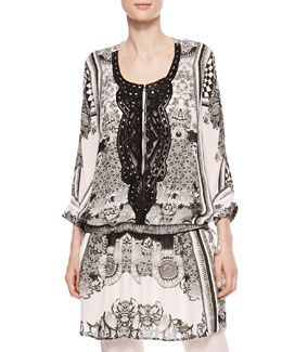 black white loose print chiffon tunic - Google-haku