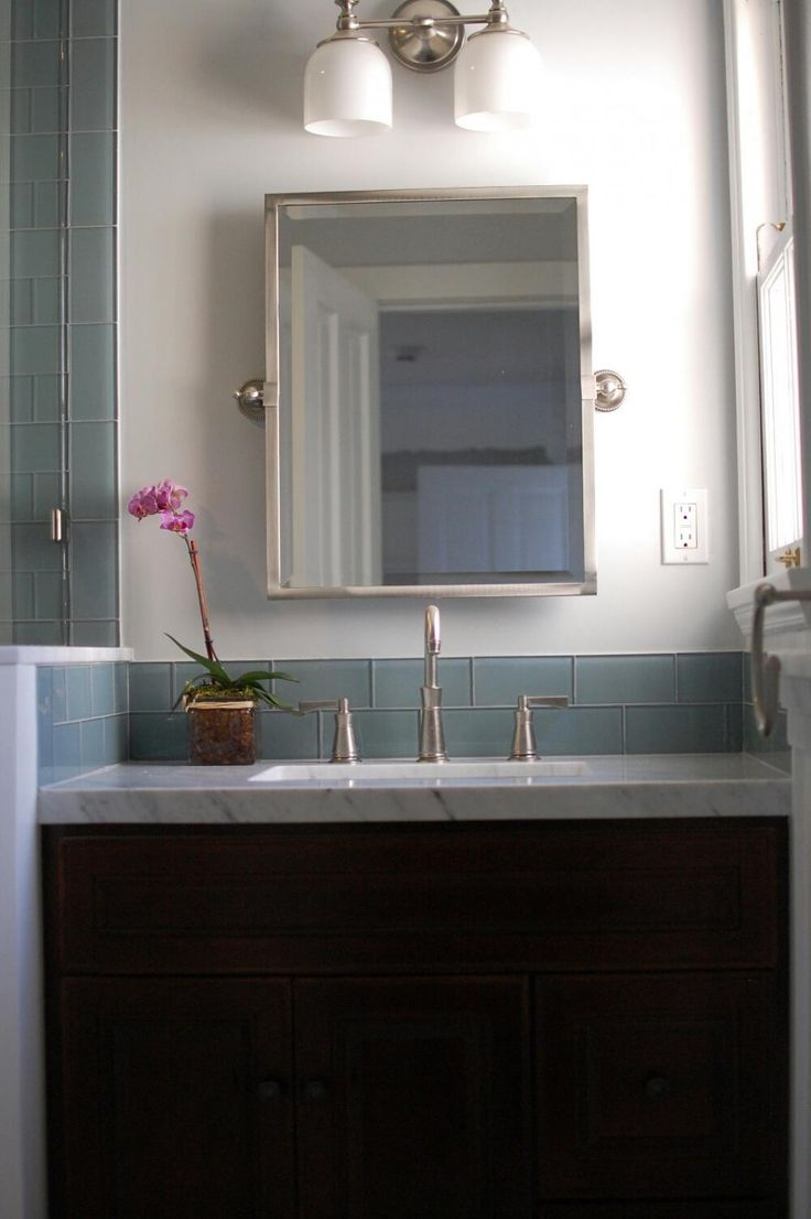 Weave pattern honed in a mesh on unfinished furniture bathroom vanity - Alluring Glass Tile Back Splash In Bathroom With Gray Ocean Subway Tiles Combined