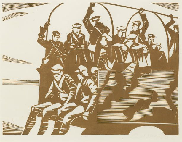 Christopher Richard Wynne Nevinson (British, 1889-1946) MT (Motor Transport) The rare woodcut printed in brown, 1918, a good impression, on oriental laid, signed in pencil, from the edition of 12, with margins, 214 x 285mm (8 1/2 x 11 1/4in)(B)