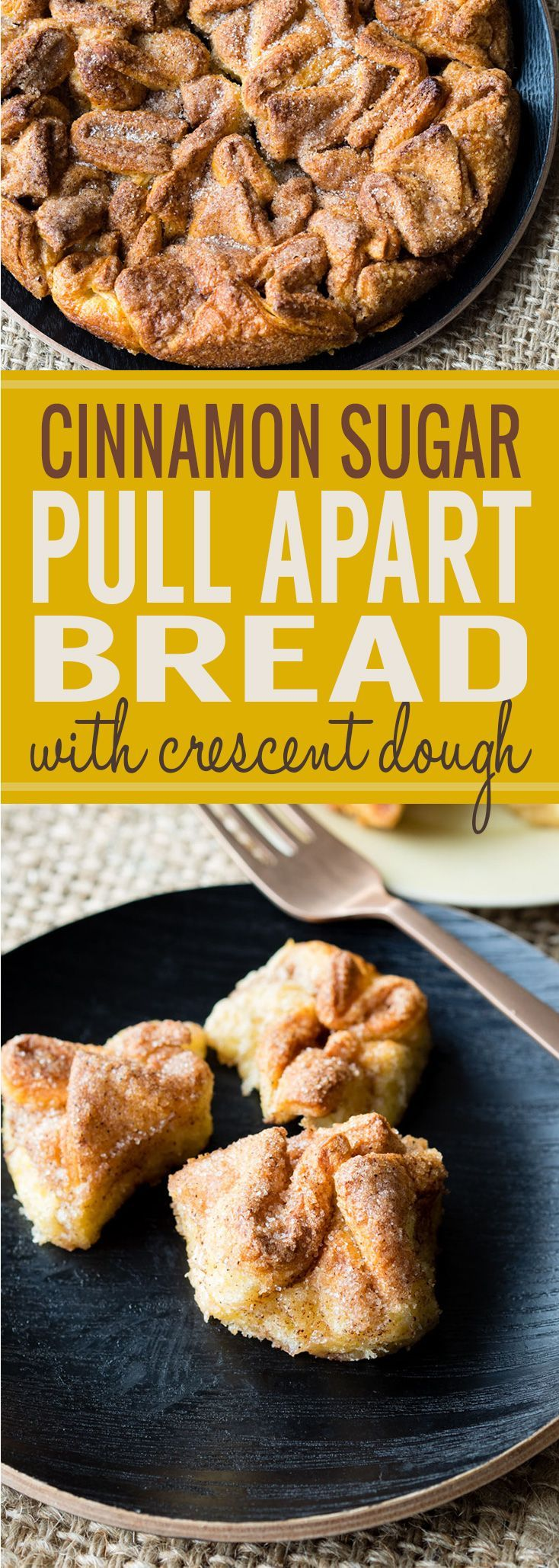 Cinnamon Sugar Pull Apart Bread made with crescent dough for a quick and tasty breakfast. You can get this in the oven in 10 minutes or less! The whole family will love this for brunch or breakfast. #pullapartbread #cinnamonsugar #fallbreakfast