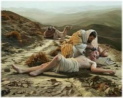 "July 10th - Luke 10:25-37: ""A man fell victim to robbers as he went down from Jerusalem to Jericho. They stripped and beat him and went off leaving him half-dead. A priest happened to be going down that road, but when he saw him, he passed by on the opposite side. Likewise a Levite came to the place, and when he saw him, he passed by on the opposite side. But a Samaritan traveler who came upon him was moved with compassion at the sight."