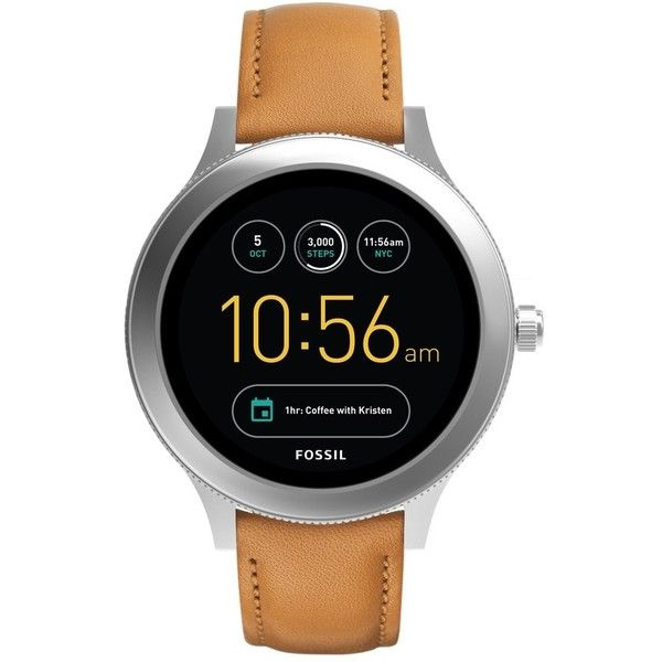 Fossil Q Venture Gen 3 Leather Strap Smart Watch, 42Mm ($255) ❤ liked on Polyvore featuring jewelry, watches, leather-strap watches, fossil watches, fossil jewelry, fossil wrist watch and steel watches