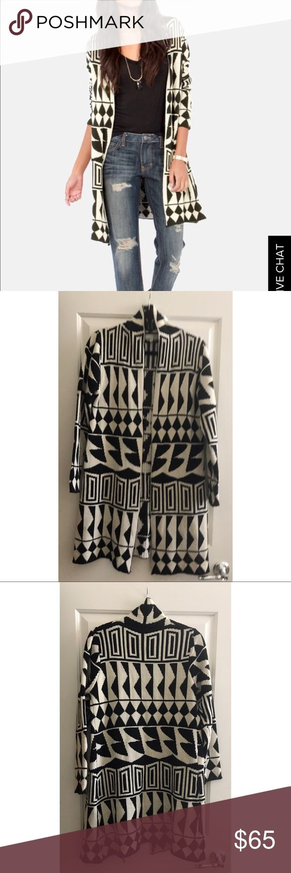 Young Threads black and beige tribal print sweater Like new Young Threads tribal print long sweater Young Threads Sweaters Cardigans