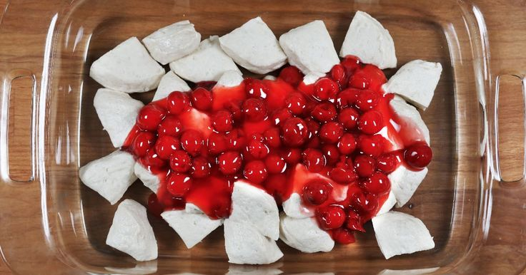 Cherry pie bubble up-Biscuits & cherry pie filling make the easiest, tastiest dessert casserole ever