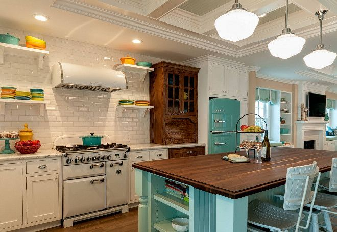 Retro Beach Style Kitchen featuring Fiesta Dinnerware