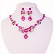 SET bijuterii glamour colier si cercei placate cu aur alb 14k si cristale multicolore