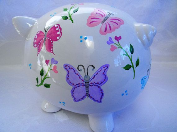 Personalized Piggy bank piggy bank with by ThePiggyBankShop