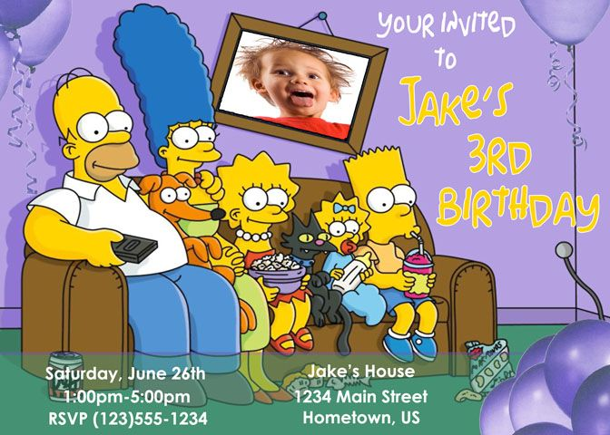Personalized The Simpsons Party Photo Invitations *Need Party Invitations Fast? With our DIY Printing Option, you'll have your files today!*
