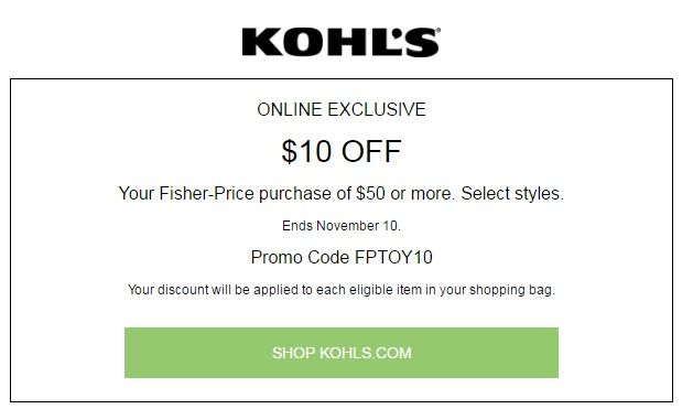 Looking Kohls 30% OFF Coupon In Stores & Kohls Promo Codes + Free Shipping? $10 Off Select Styles Fisher-Price Purchase Of $50+ #Toys #Fisher-Price #Kohls