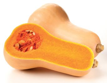 BUTTERNUT SQUASH || This squash is a meal in itself.  Tan skin with orange flesh that is smooth rather than fibrous.  Easy to prepare.  (Skin is thin enough to peel off.)  Stores well. || http://www.thinkvegetables.co.uk/vegetable.asp?VegetableID=15