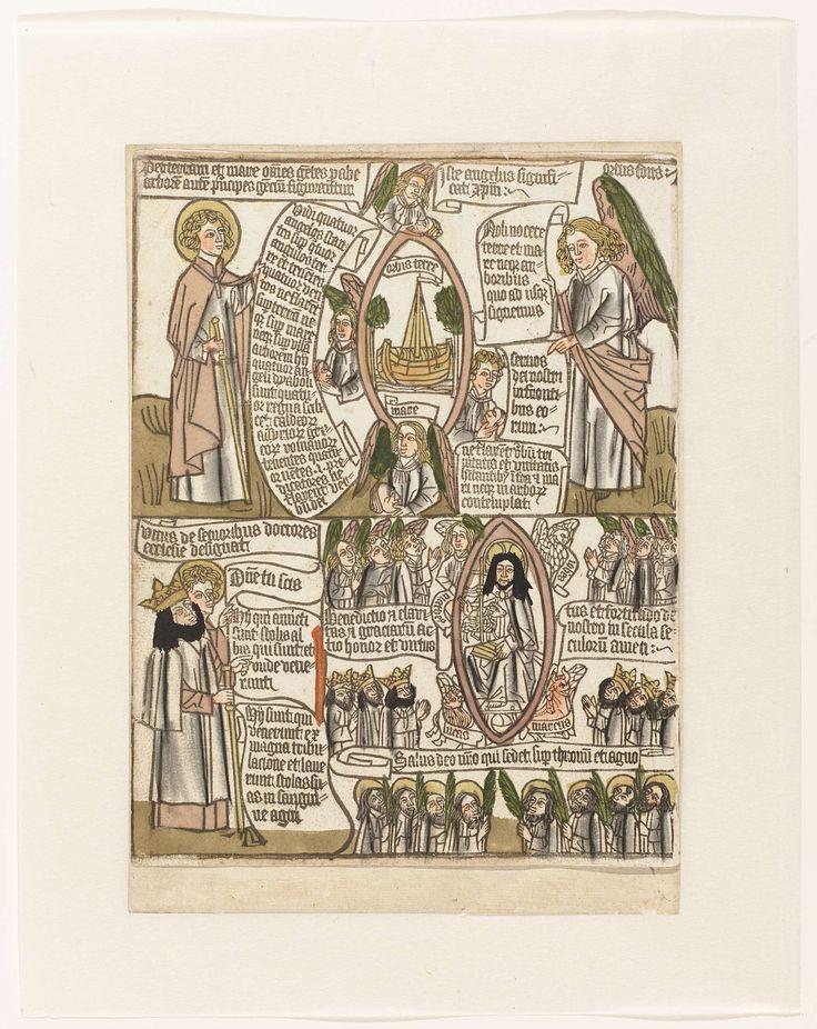 De vier engelen bij de vier hoeken van de aarde en de lofzang van de zaligen uit Johannes' Apocalypse, anoniem, c. 1460 - c. 1467