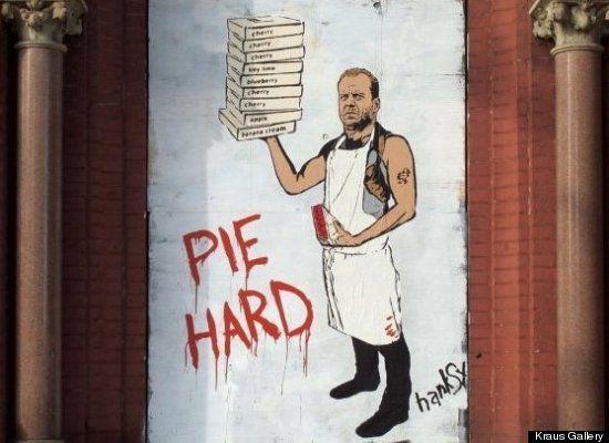 Street art involving food: Street Artists, Bruce Willis, Pies Hard, Urban Art, Bruce Willian, Art Streetart, Hard, Art Urbano, Funny Stuff