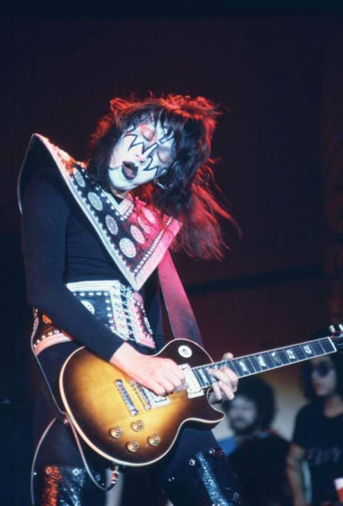 Ace Frehley on stage during KISS's Hotter Than Hell Tour at the Aragon Ballroom Chicago, Illinois, November 8, 1974.