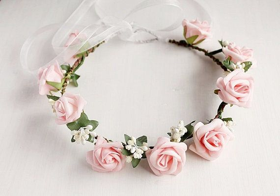 Pink Rose Crown Boho Head Wreath Bridal Halo by HandyCraftTS