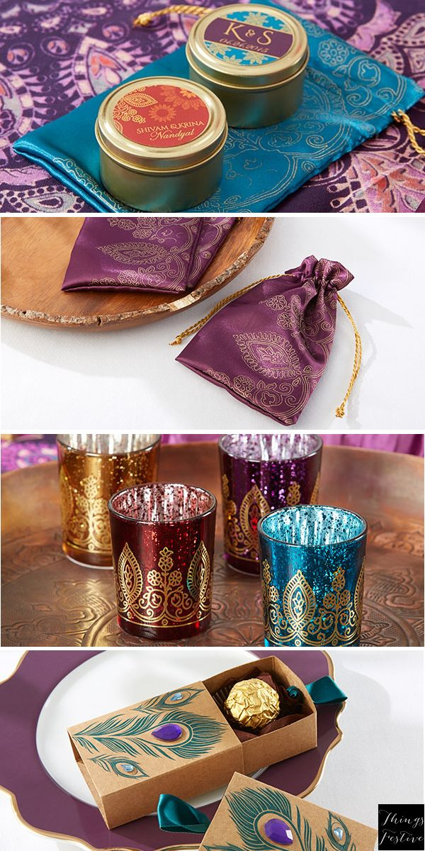 Jewel-toned wedding favors make ideal Indian wedding favors with their intricate patterns & lustrous materials.  #IndianWeddingFavors