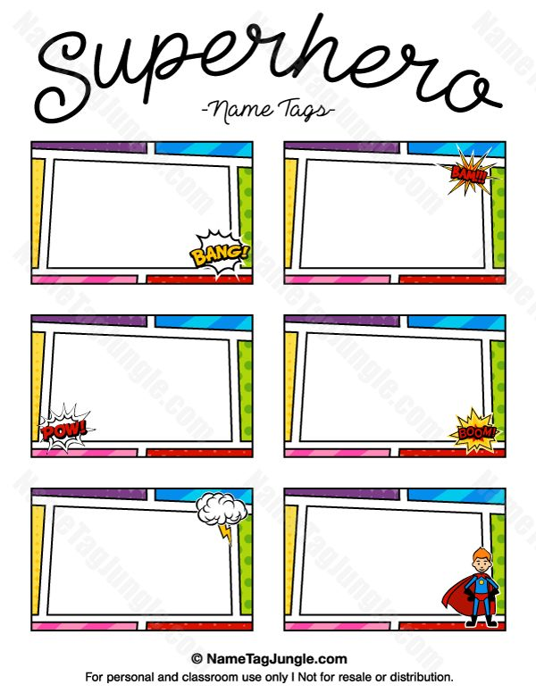 Free printable superhero name tags. Each name tag features a comic book style border with action bubbles, a superhero wearing a cape, and more. The template can also be used for creating items like labels and place cards. Download the PDF at http://nametagjungle.com/name-tag/superhero/