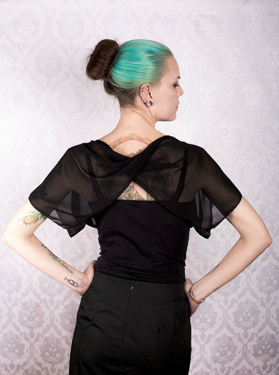 Black chiffon Twist Back Top by KitsuneCoutureFI on Etsy