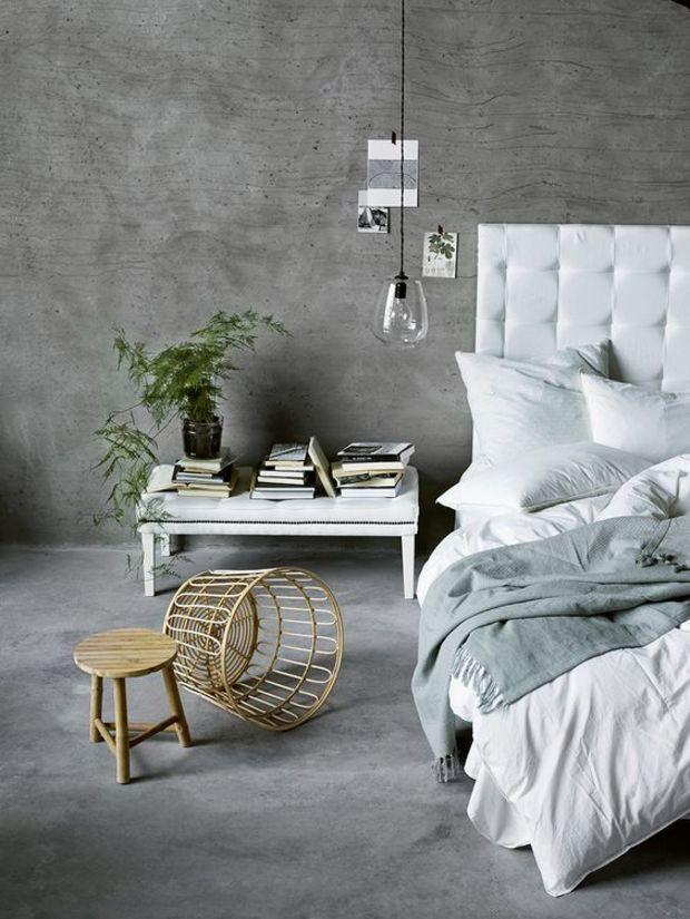 Concrete wall colour in bedroom #beton #concrete #sichtbeton #schlafzimmer #scandinavian #minimal #interiour