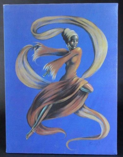 ELAINE-DUNGILL-Canvas-African-Black-Dancer-Lithograph-Painting-on-Canvas