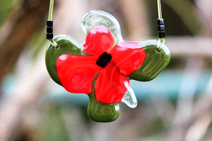 Piros pipacs különleges üvegékszer.