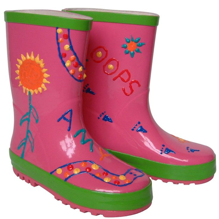 Create your own design on these bright green or pink wellies with special, waterproof paint pens.  Paint on funny faces and pictures, or even write messages, names or pretty patterns. £14.99