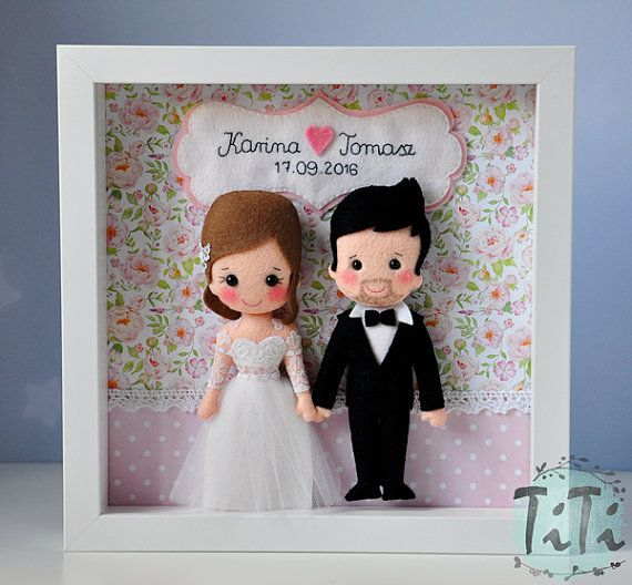 Personalised Wedding box frame, Picture box frame, Wedding memory gift, Frame box save the date, Personalised Gift, newlyweds, felt dolls