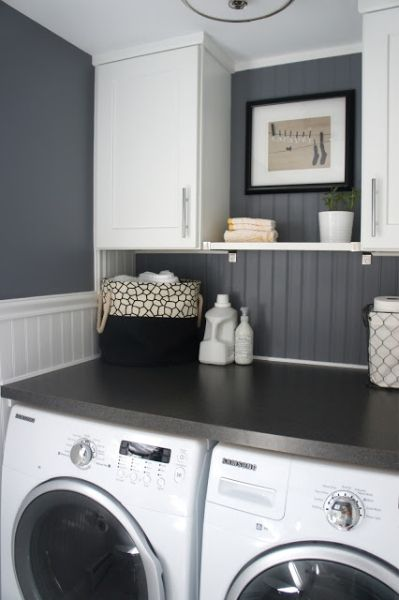 Benjamin Moore Rock Gray - Laundry room. If I had one like this I might even take overvthe laundry.