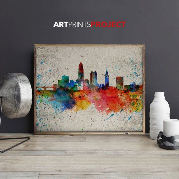 Cleveland skyline Watercolor print Distressed by ArtPrintsProject