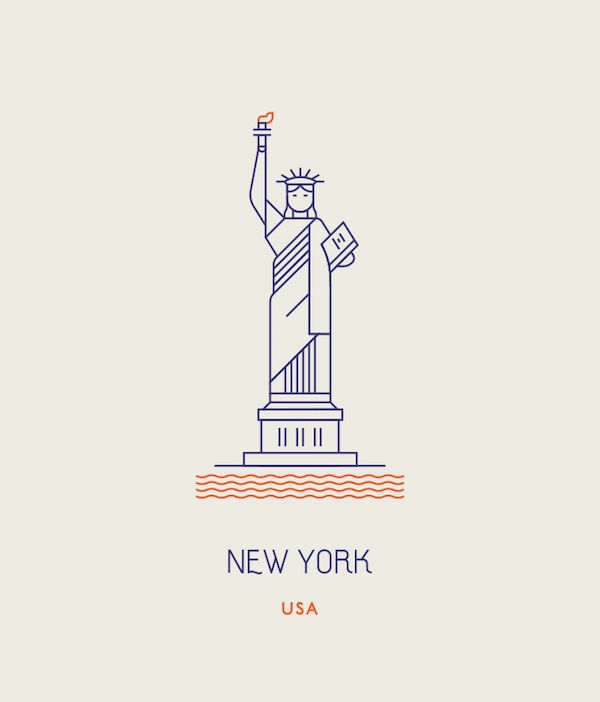 Minimalist Icons Of Famous Landmarks Around The World Created With Simple Lines - DesignTAXI.com