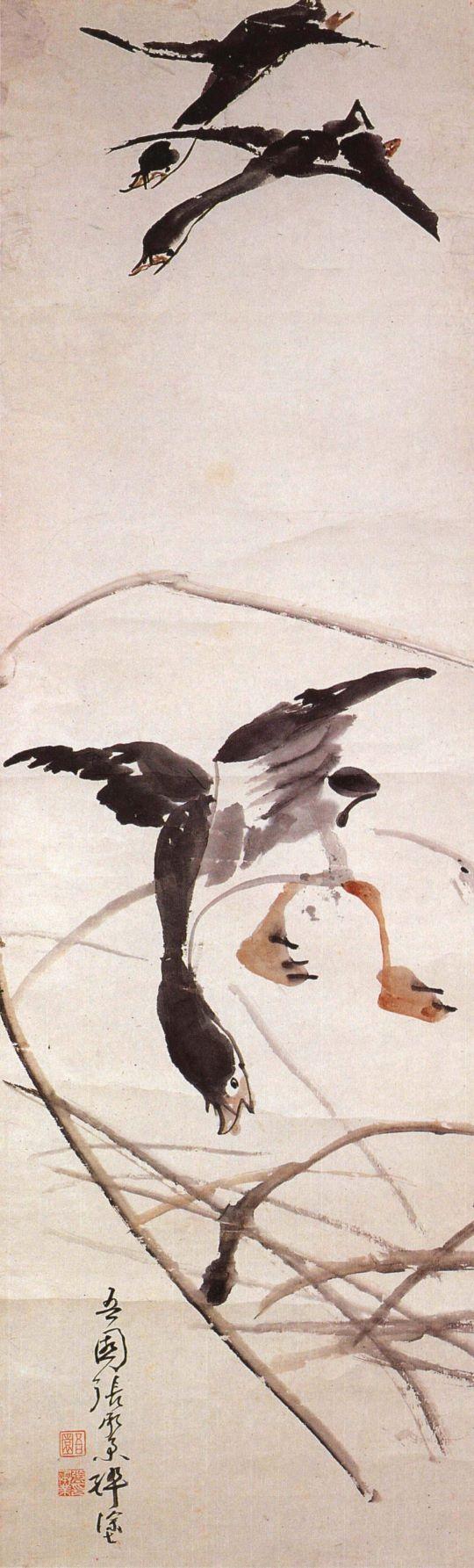 오원 장승업 (1843~1897), 지본담채, 노안도 Sǔng ǒp Chang  張承業장승업 조선(朝鮮) 시대(時代) 말기(末期)의 화가(畫家). 자는 경유(景猷), 호는 오원(吾園). 본은 태원(太原) 화원(畫員)